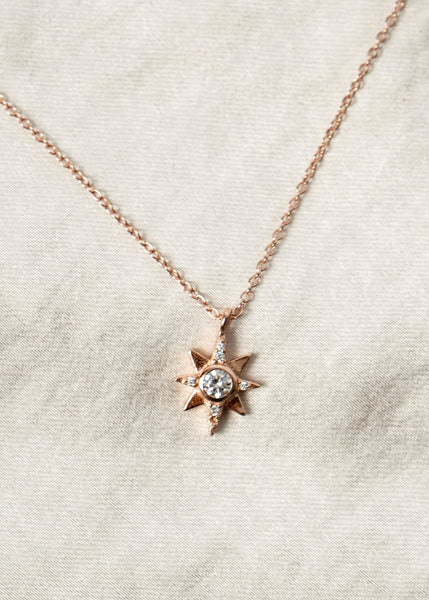 north star diamond pendant necklace star gold charm jewelry necklace