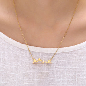 gold mountain shaped jewelry necklace charm