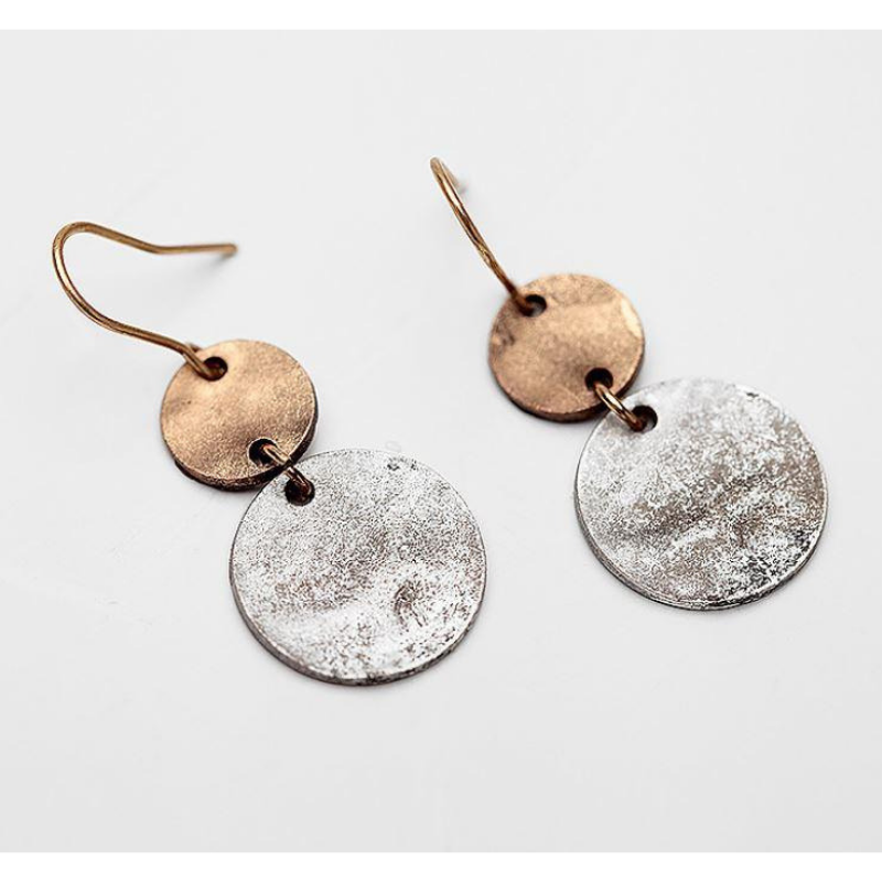 Antique Silver and Gold Disk Drop Vintage Earrings