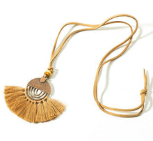 Load image into Gallery viewer, Bohemian Tassel Fringe Necklace with Leather Chain