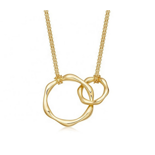 Crossed Interlocking Double Circles Rings Gold Necklace Charm