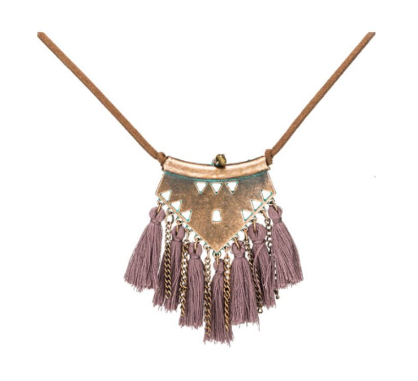 Bohemian Tassel Fringe Necklace with Leather Chain Mauve