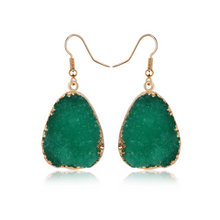 Load image into Gallery viewer, Natural Druzy Quartz Stone Crystal Dangle Earrings Green