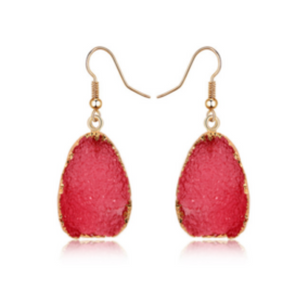 Natural Druzy Quartz Stone Crystal Dangle Earrings Coral