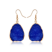 Load image into Gallery viewer, Natural Druzy Quartz Stone Crystal Dangle Earrings Blue