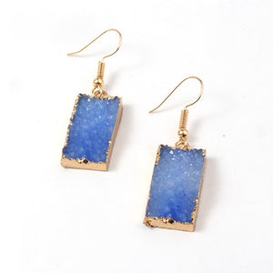 Druzy Quartz Dangle Crystal Statement Earrings in Blue