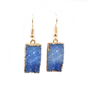 Druzy Quartz Dangle Crystal Statement Earrings Blue
