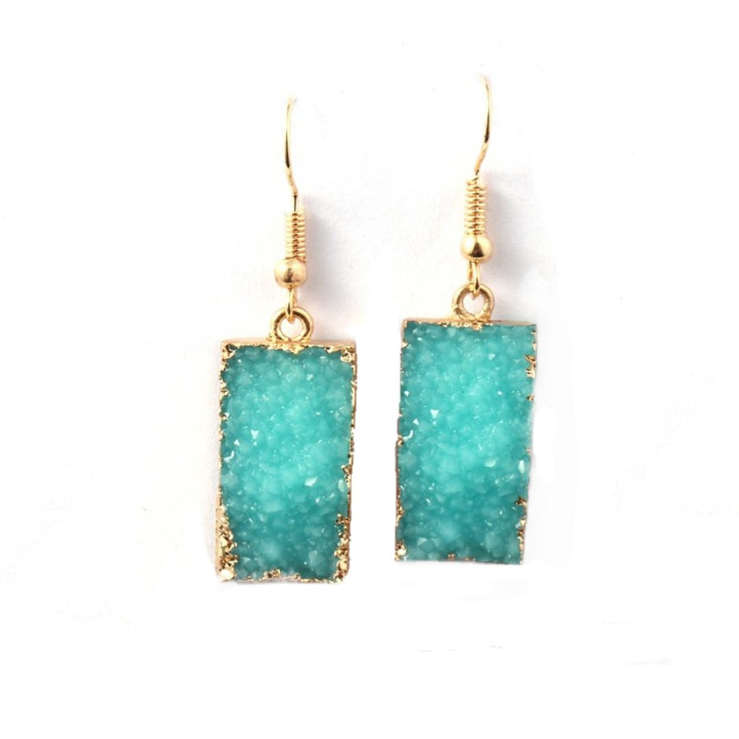 Druzy Quartz Dangle Crystal Statement Earrings in Teal