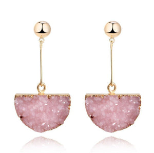 Gold Plated Dangle Druzy Natural Quartz Stone Earrings