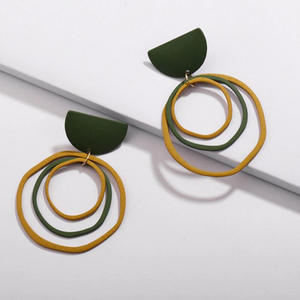 Natural Tone Multi-Loop Disk Modern Statement Earrings