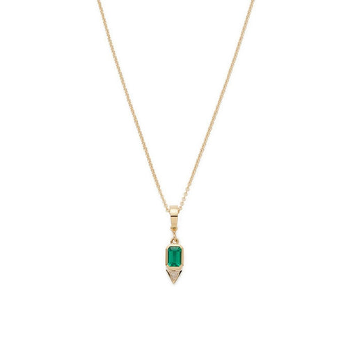 14k Gold Layering Necklace with Emerald Gemstone Pendant  Zodiac Birthstone Green Charm