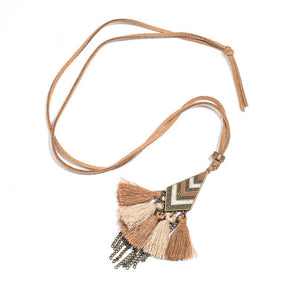 Bohemian Tassel Fringe Necklace with Leather Chain