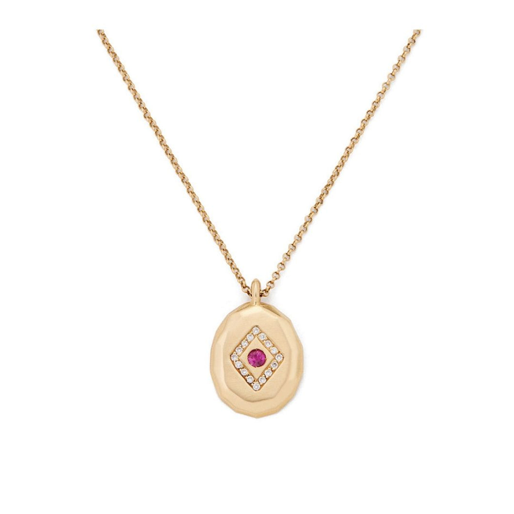Gold Medallion Layering Necklace with Ruby Red Gemstone