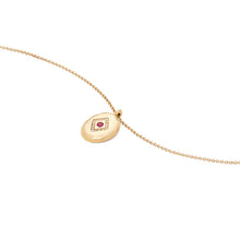 Load image into Gallery viewer, 14k Gold Chain Medallion Layering Necklace with Ruby Red Gemstone