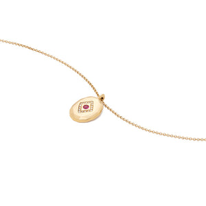 14k Gold Chain Medallion Layering Necklace with Ruby Red Gemstone