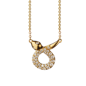 Gold Snake Pendant Necklace Charm