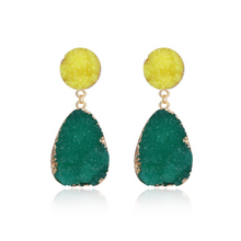 Load image into Gallery viewer, Druzy Natural Quartz Stone Dangle Gold Statement Earrings