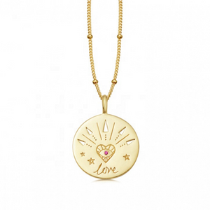 Gold necklace medallion with word love inspirational jewelry