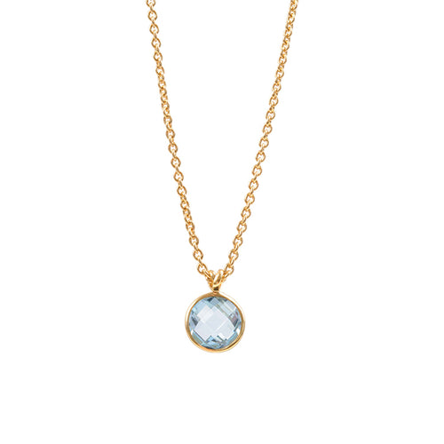 simple 18k gold layering necklace with round aquamarine stone