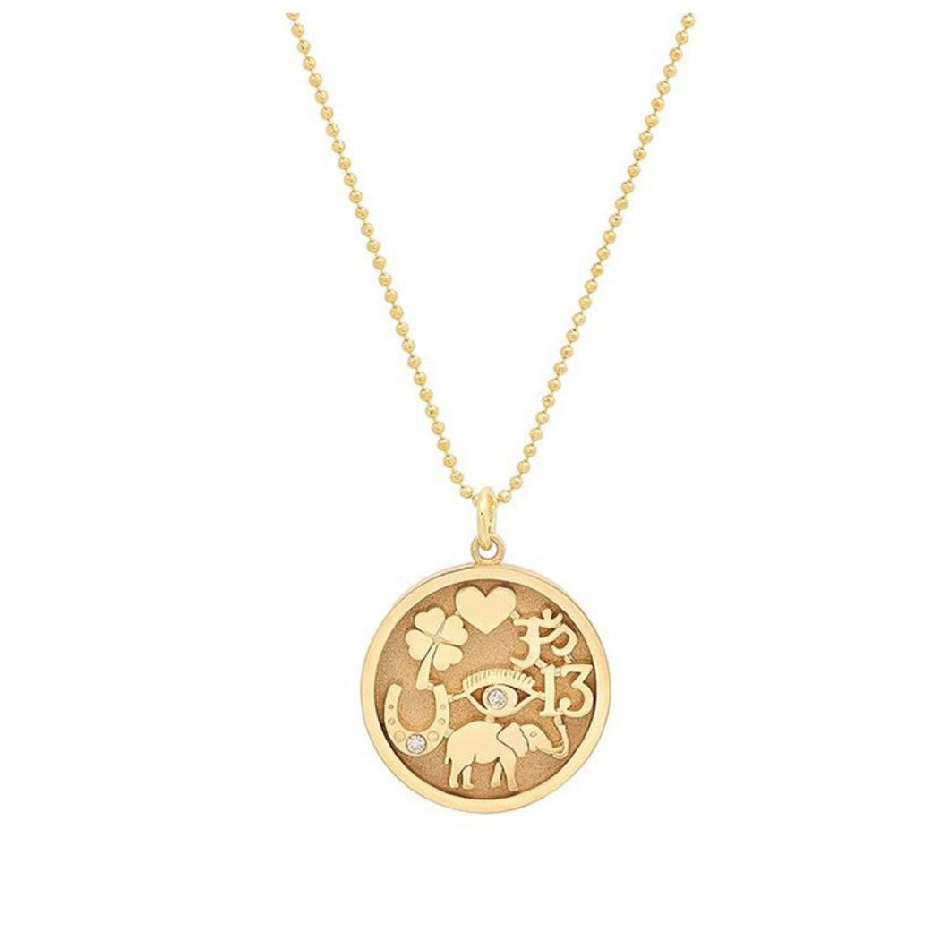 Gold Tableau Layering Medallion Protection Necklace