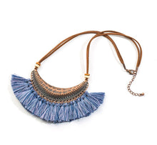 Load image into Gallery viewer, Bohemian Fringe Statement Collar Tassel Necklace Blue