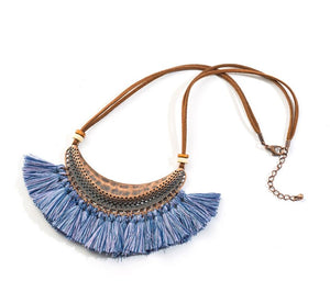 Bohemian Fringe Statement Collar Tassel Necklace Blue