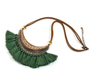 Bohemian Fringe Statement Collar Tassel Necklace Green