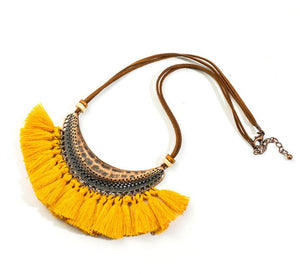 Bohemian Fringe Statement Collar Tassel Necklace Yellow