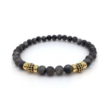 Load image into Gallery viewer, Mens Black Bead Bracelet Labradorite Mala Spiritual Bracelet