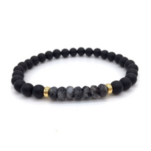 Load image into Gallery viewer, Mens Black Onyx Stone Beaded Yoga Mala Spiritual Bracelet