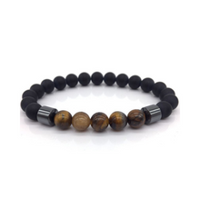Load image into Gallery viewer, Mens Black Bead Tiger Eye Bracelet Hematite Natural Stone Spiritual Yoga Bracelet