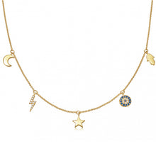 Load image into Gallery viewer, delicate gold layering necklace with moon and stars celestial symbols