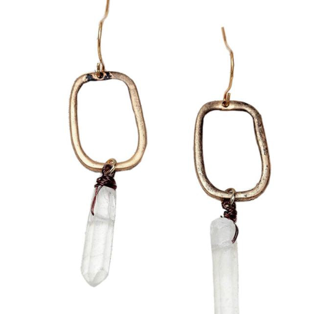 Bohemian Antique Gold Drop Earrings with Natural Crystal Stone
