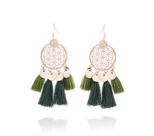 Trendy Fringe Tassel Statement Gold Earrings Olive