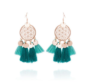 Trendy Fringe Tassel Statement Gold Earrings Teal