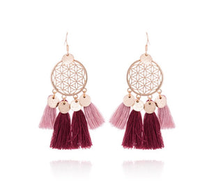 Trendy Fringe Tassel Statement Gold Earrings