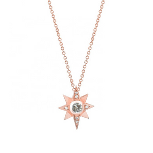 North Star Gold Charm Layering Necklace Bohemian Diamond