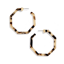 Load image into Gallery viewer, Animal Print Geometric Octagon Hoop Earrings Leopard