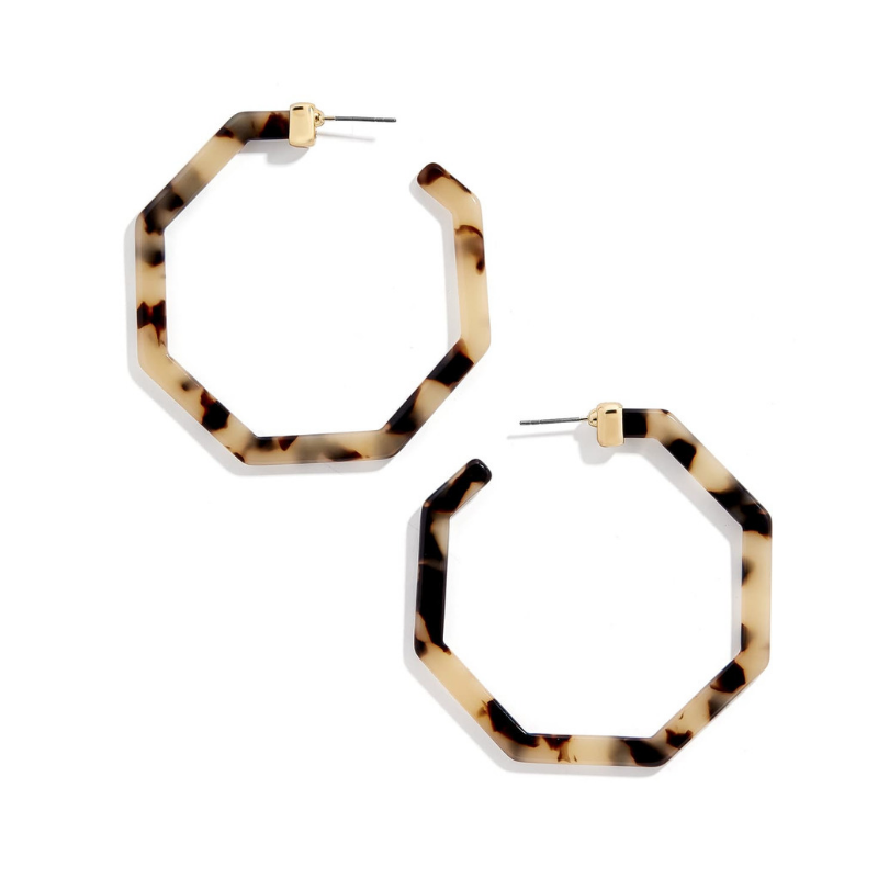 Animal Print Geometric Octagon Hoop Earrings Leopard