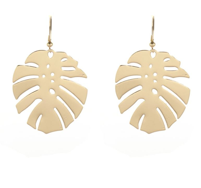 Medium Gold Palm Leaf Dangle Earrings Tropical Jewelry