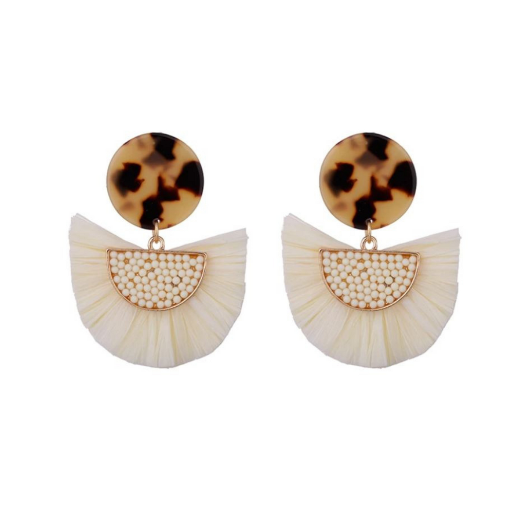 White Raffia Statement Beach Earrings in Animal Print