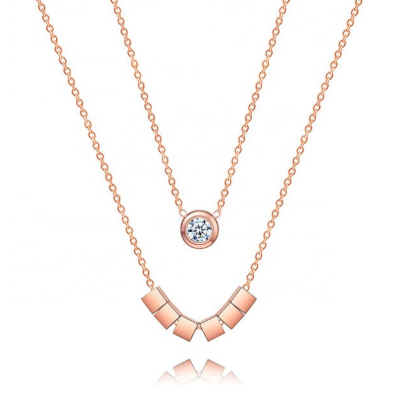 Double Chain 18k Rose Gold Layering Necklace for Women Cubic Zircon