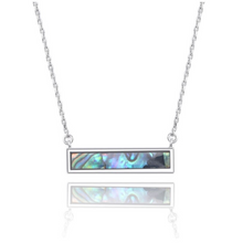 Load image into Gallery viewer, Sterling Silver Abalone Shell Bar Layering Necklace