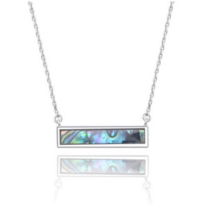 Sterling Silver Abalone Shell Bar Layering Necklace