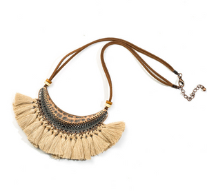 Bohemian Fringe Statement Collar Tassel Necklace Cream