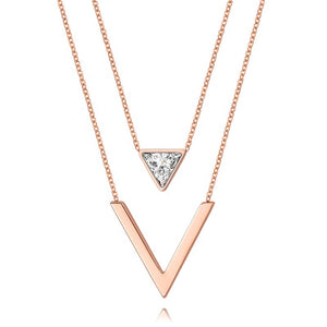 18k Rose Gold Plated V-Shaped Double Chain Layering Necklace