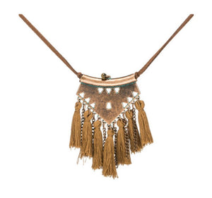 Bohemian Tassel Fringe Necklace with Leather Chain Mustard