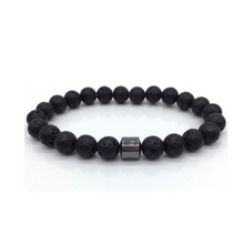 Load image into Gallery viewer, Mens Black Beaded Lava Stone Hematite Spiritual Yoga Mala Bracelet