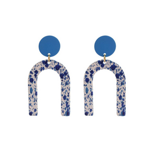 Modern Geometric U-Shaped Statement Earrings Unique Blue