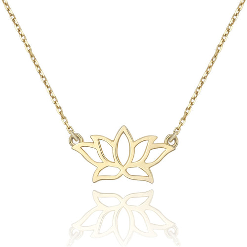 14k Yellow Gold Tiny Lotus Flower Necklace Spiritual